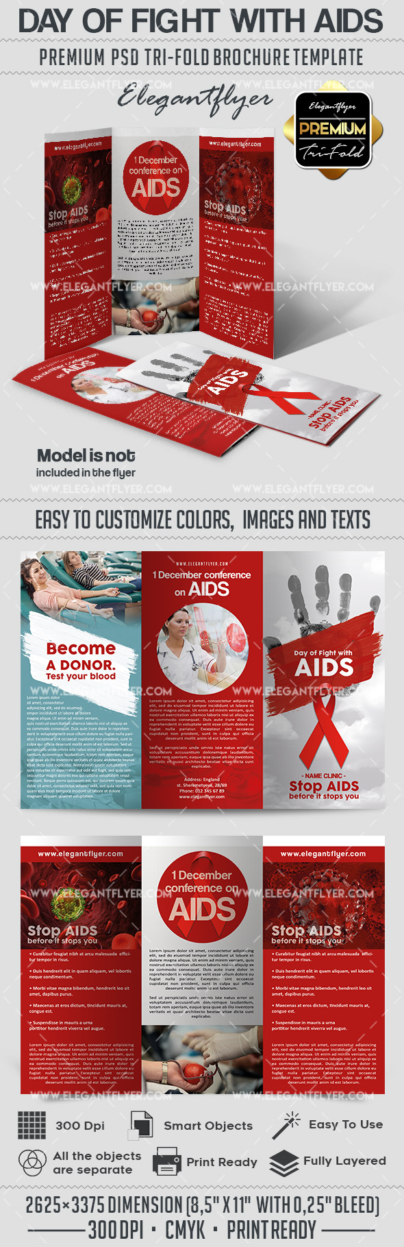 day of fight with aids psd brochure