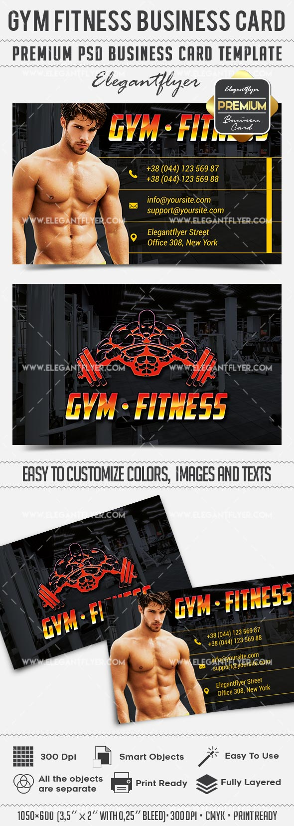 GYM Fitness – Business Card Templates PSD