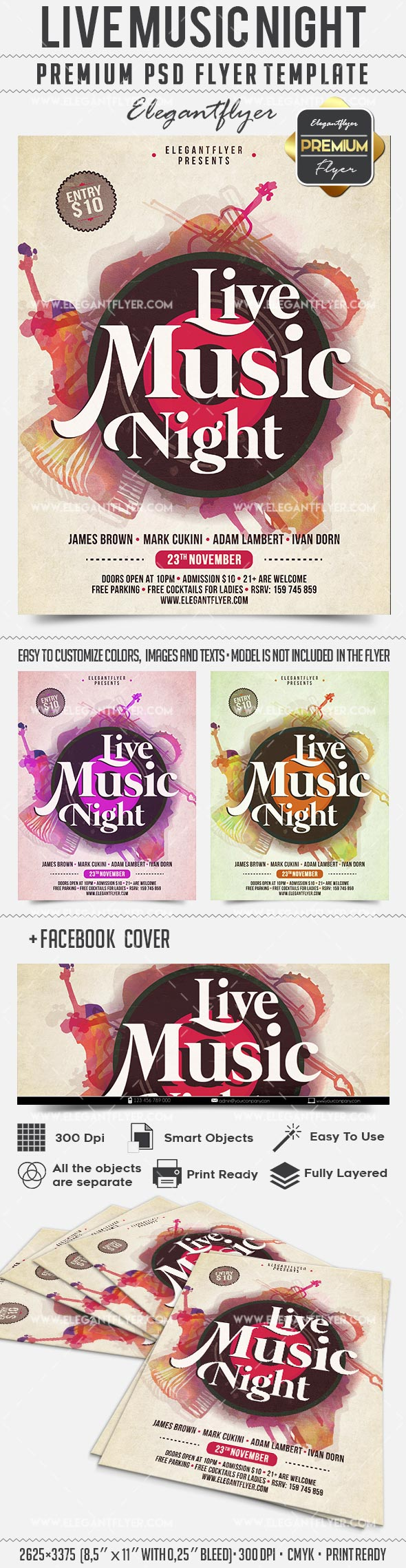Live Music Night – Flyer PSD Template + Facebook Cover