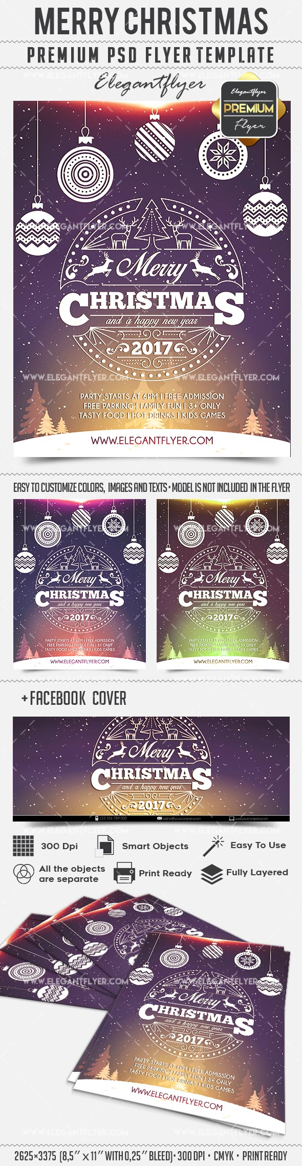 Poster Merry Christmas PSD Template