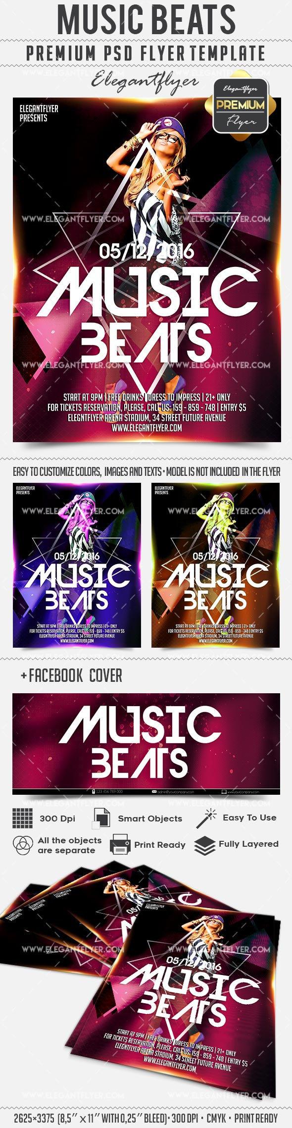 Music Beats – Flyer PSD Template