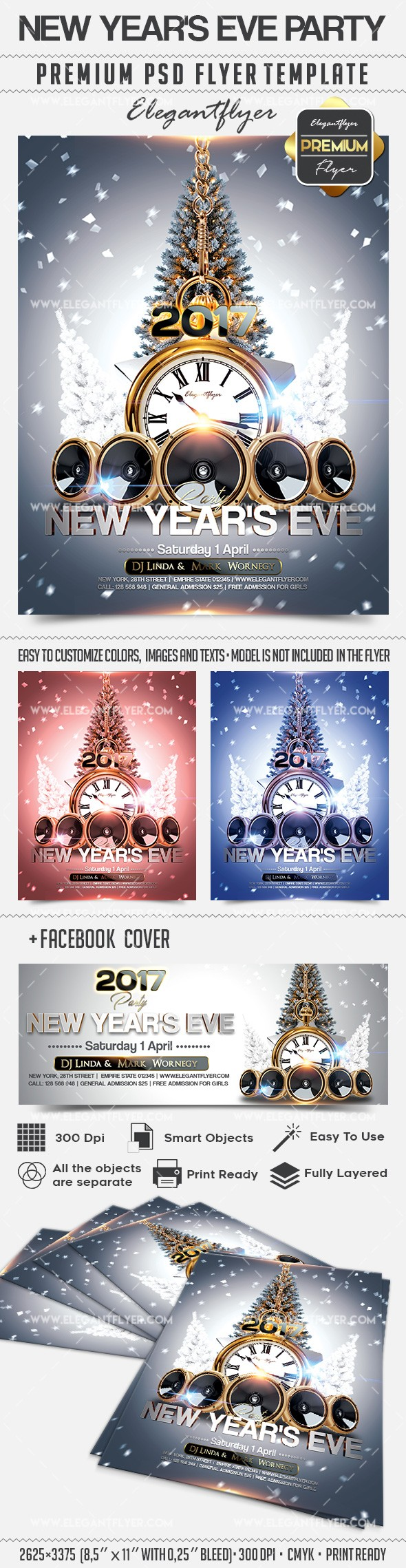 New Year's Eve Party – Flyer PSD Template + Facebook Cover
