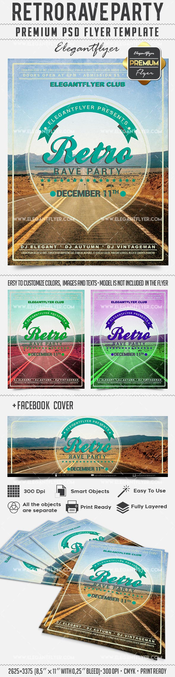 Retro Rave Party – Flyer PSD Template + Facebook Cover