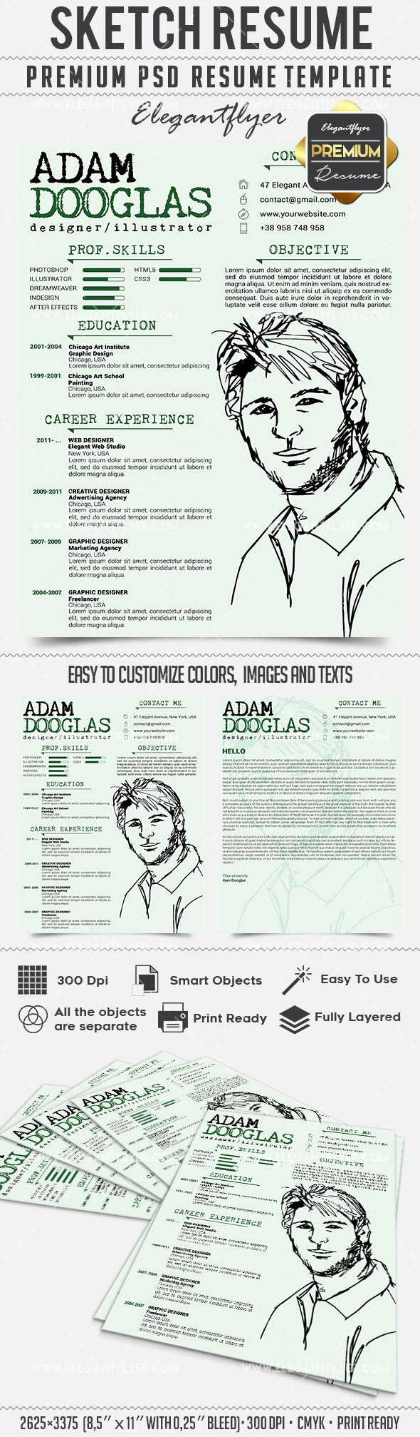 Sketch Resume – CV PSD Templates