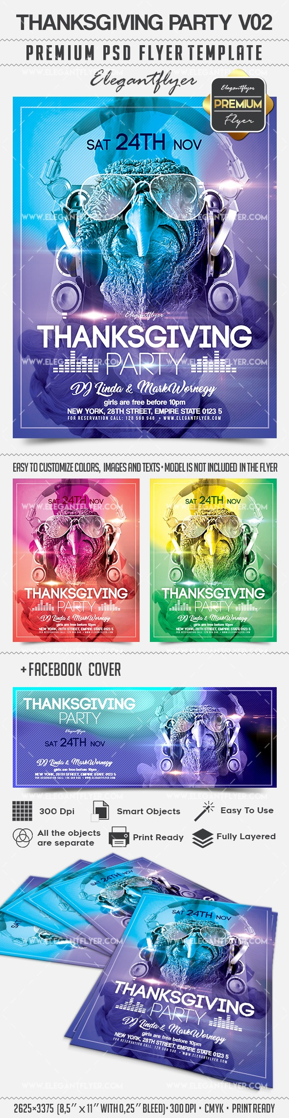 Thanksgiving Party V02 – Flyer PSD Template + Facebook Cover