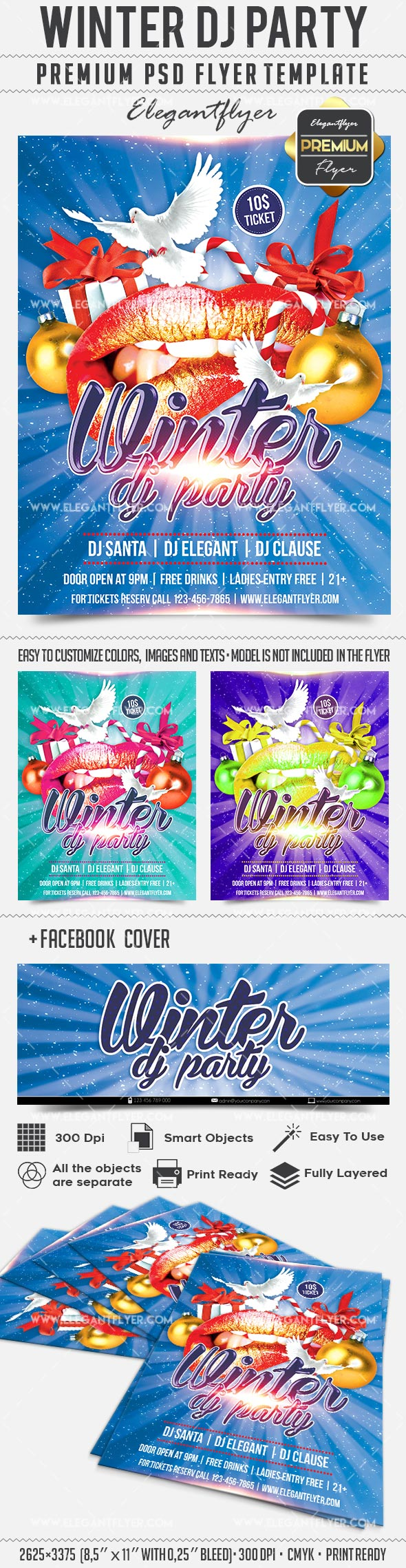 Winter Dj Party – Flyer PSD Template