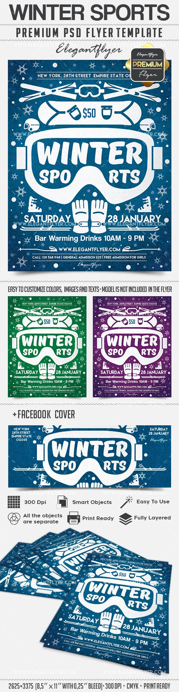 Different Winter Sports PSD Flyer
