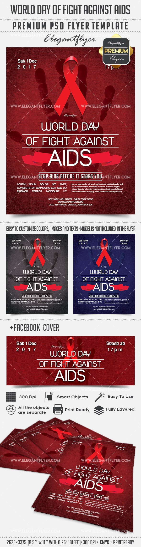 World day of fight against AIDS – Flyer PSD Template + Facebook Cover