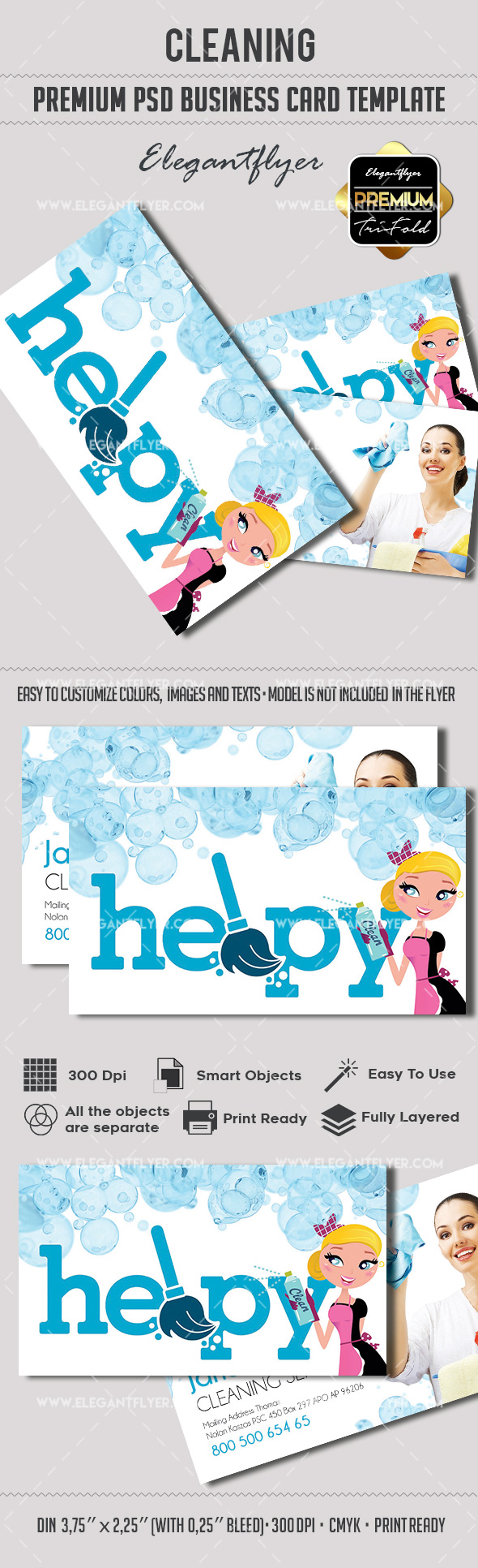 Cleaning Service Business Card – by ElegantFlyer
