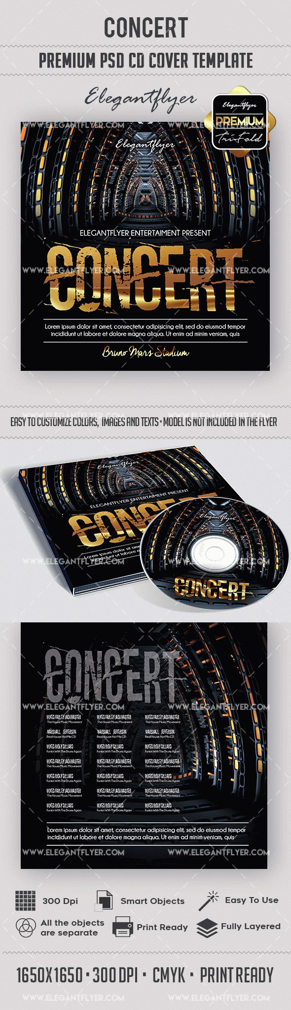 Concert – Premium CD Cover PSD Template