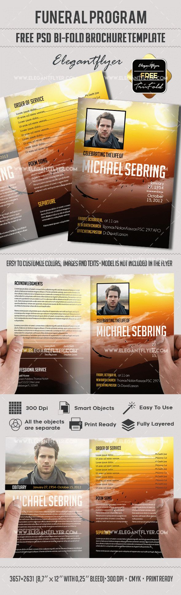 Free editable funeral program brochure by elegantflyer for Program brochure templates