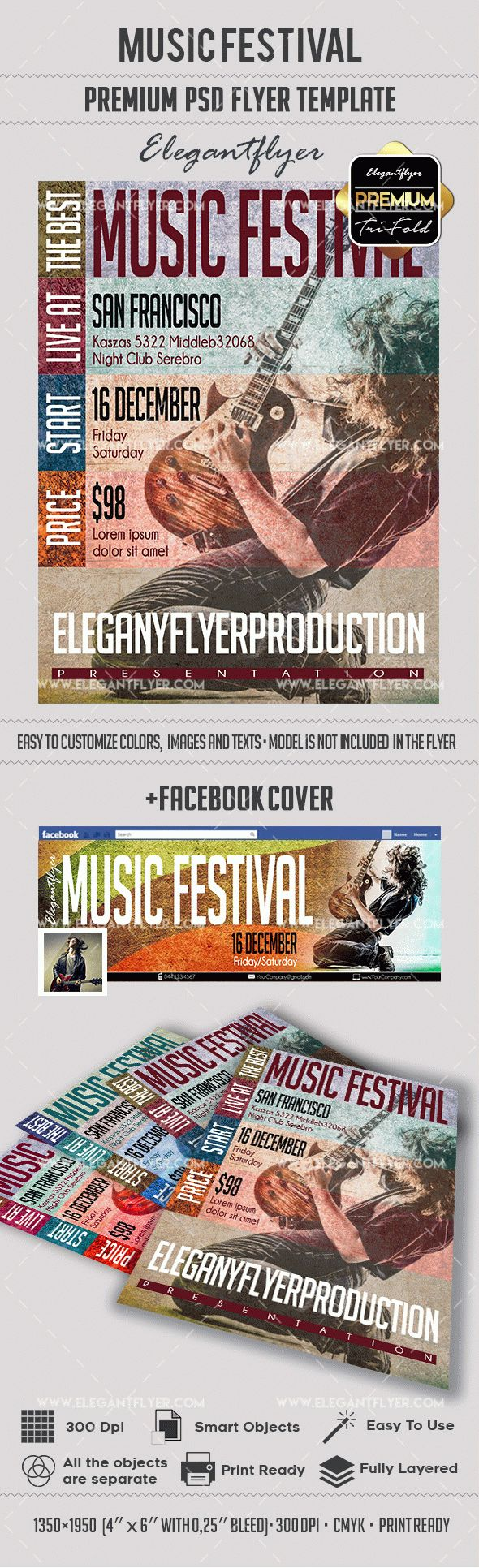 Music Festival – Premium Flyer PSD Template + Facebook Cover