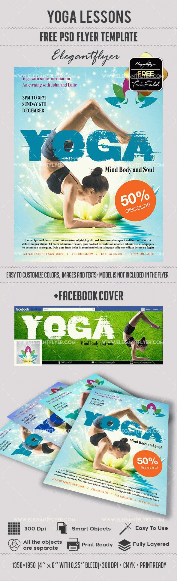 Yoga – Flyer PSD Template + Facebook Cover