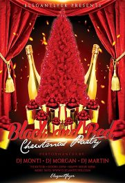 Black and Red Christmas Party – Flyer PSD Template + Facebook Cover
