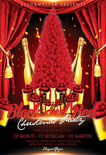 Black and Red Christmas Party – Flyer PSD Template
