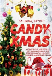 Candy Christmas – Flyer PSD Template + Facebook Cover