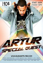 Dj Artur – Flyer PSD Template + Facebook Cover