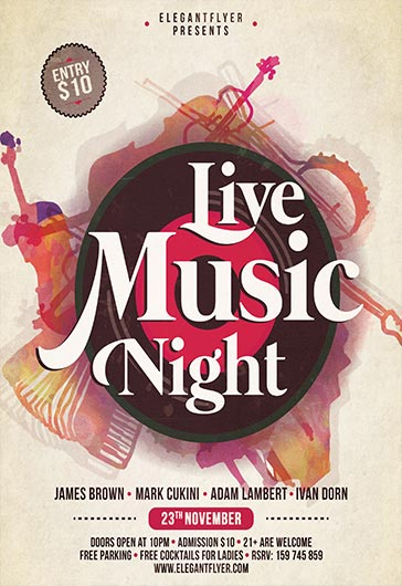 Live Music Night U2013 Flyer PSD Template + Facebook Cover U2013 By ElegantFlyer