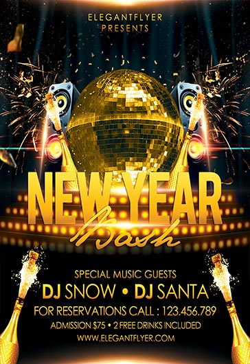 Flyer for New Year Eve Bash Theme