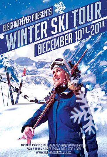 Ski Tour – Flyer PSD Template + Facebook Cover