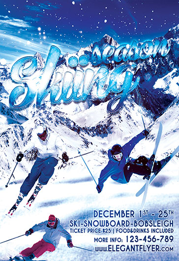 Skiing – Flyer PSD Template + Facebook Cover