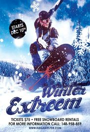 Winter Extreem – Flyer PSD Template + Facebook Cover