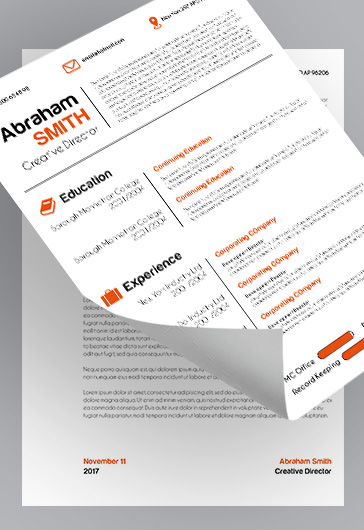 CV – Free CV and Cover Letter PSD Template