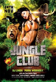 Jungle Club – Flyer PSD Template + Facebook Cover