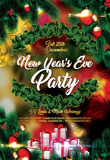 New Year's Eve Party – Free Flyer PSD Template + Facebook Cover