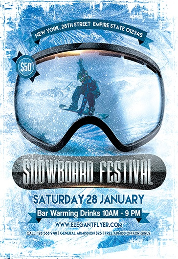 Snowboard Festival – Flyer PSD Template + Facebook Cover