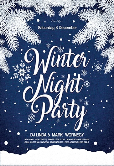 Winter Night Party – Flyer PSD Template