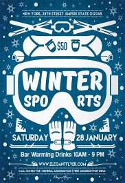 Winter Sports – Flyer PSD Template + Facebook Cover