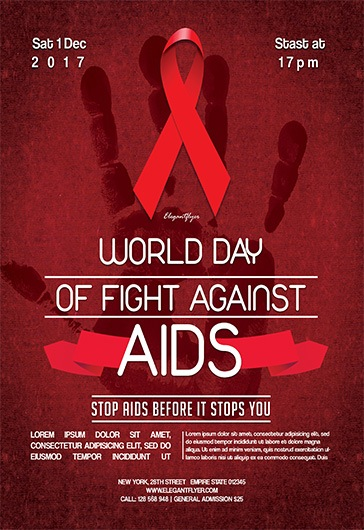 world day of fight against aids flyer psd template by elegantflyer