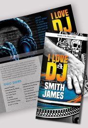 DJ Press Kit – Premium Tri-Fold PSD Brochure Template