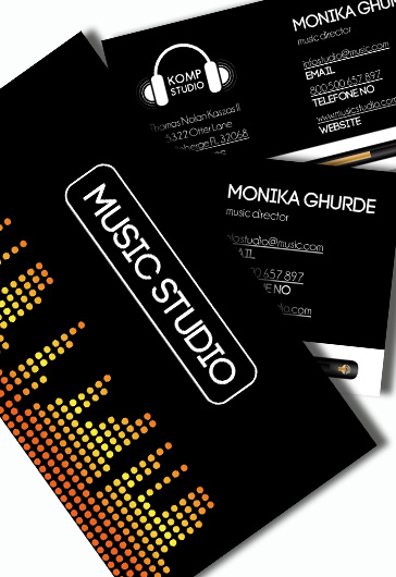 music production premium business card psd template by