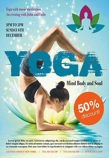 yoga lessons psd flyer  u2013 by elegantflyer