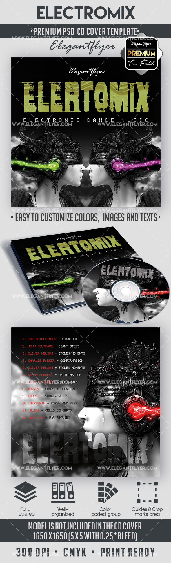 Electromix – Premium CD Cover PSD Template