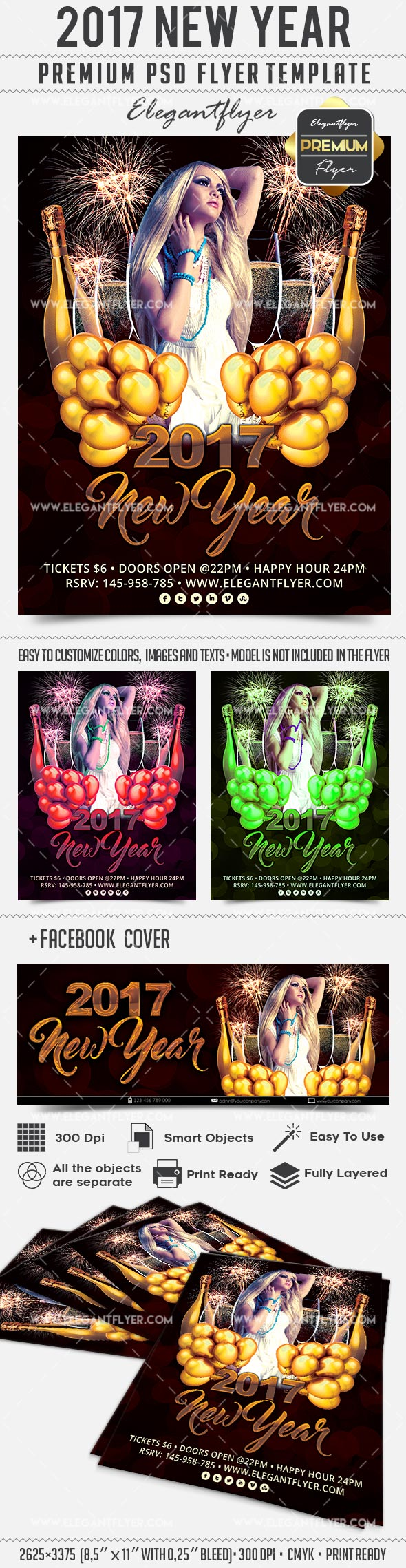 2017 New Year – Flyer PSD Template