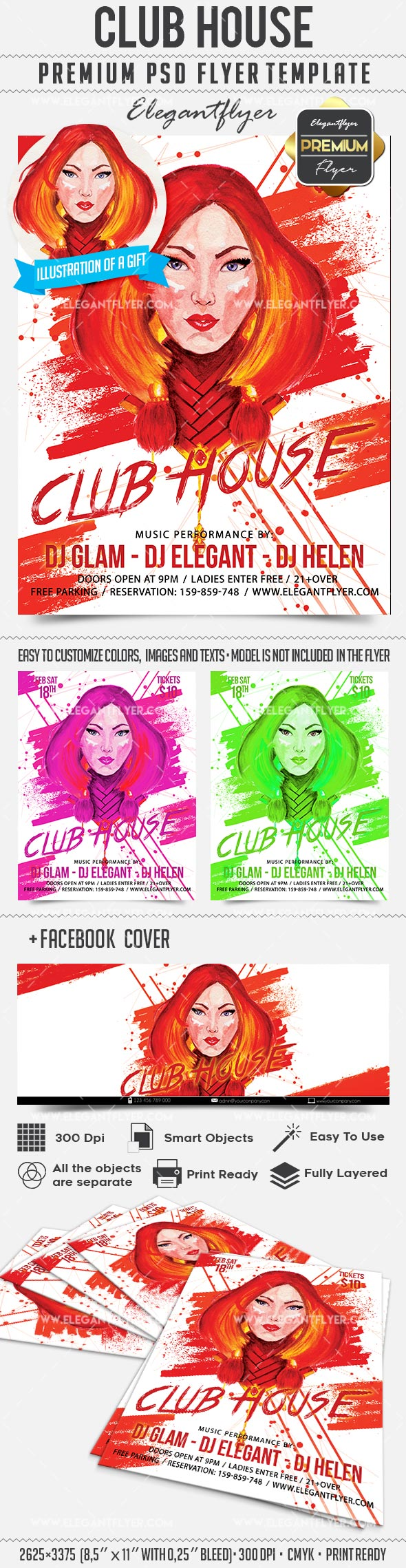 Club House – Flyer PSD Template + Facebook Cover