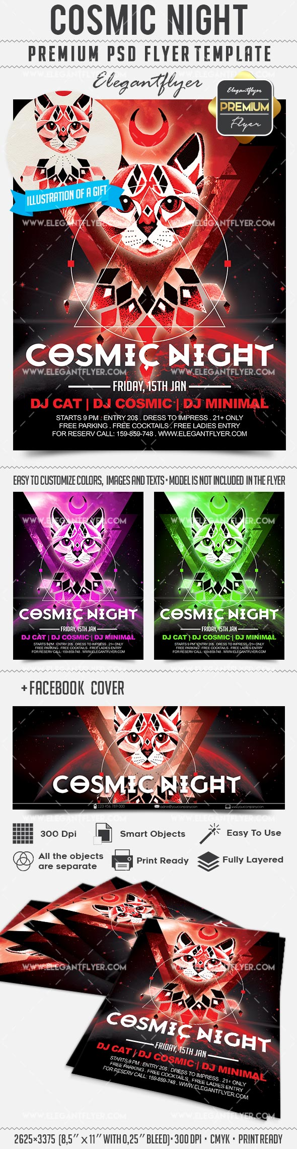 Cosmic Night – Flyer PSD Template + Facebook Cover