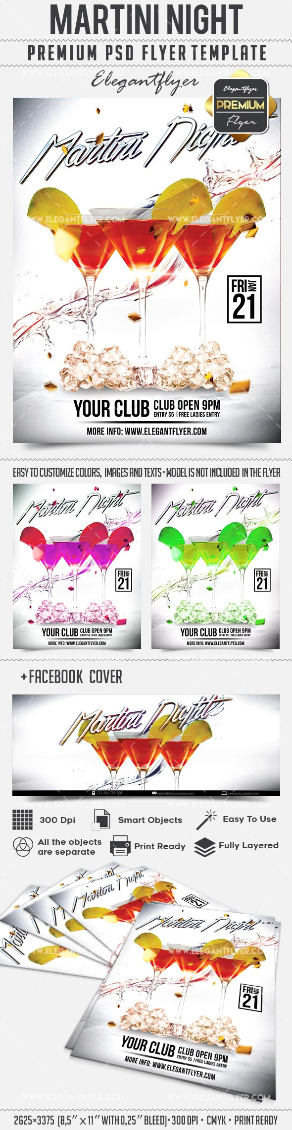 Martini Night – Flyer PSD Template + Facebook Cover