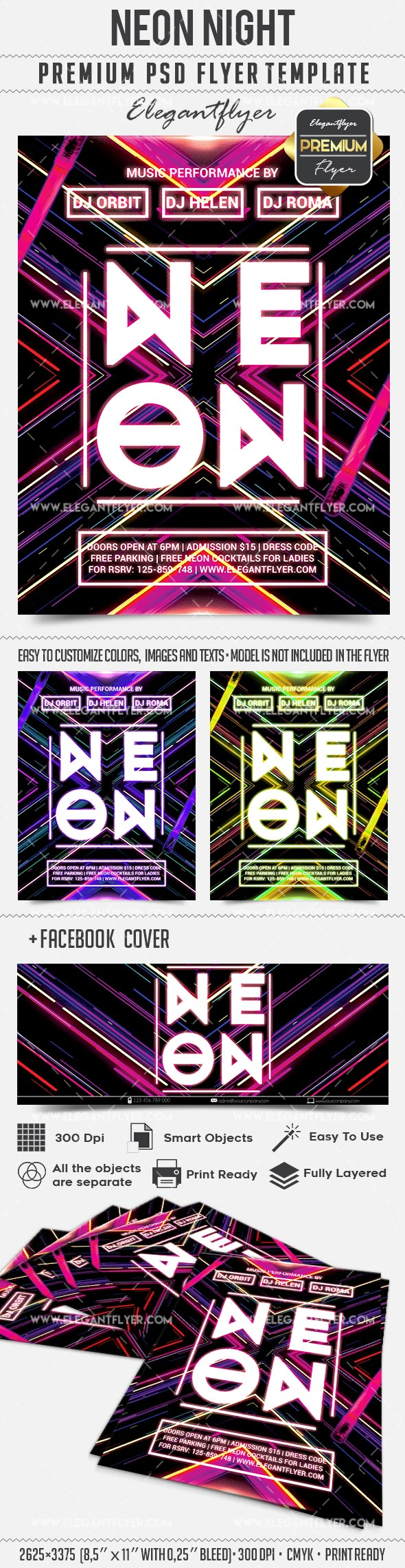 Neon Night – Flyer PSD Template