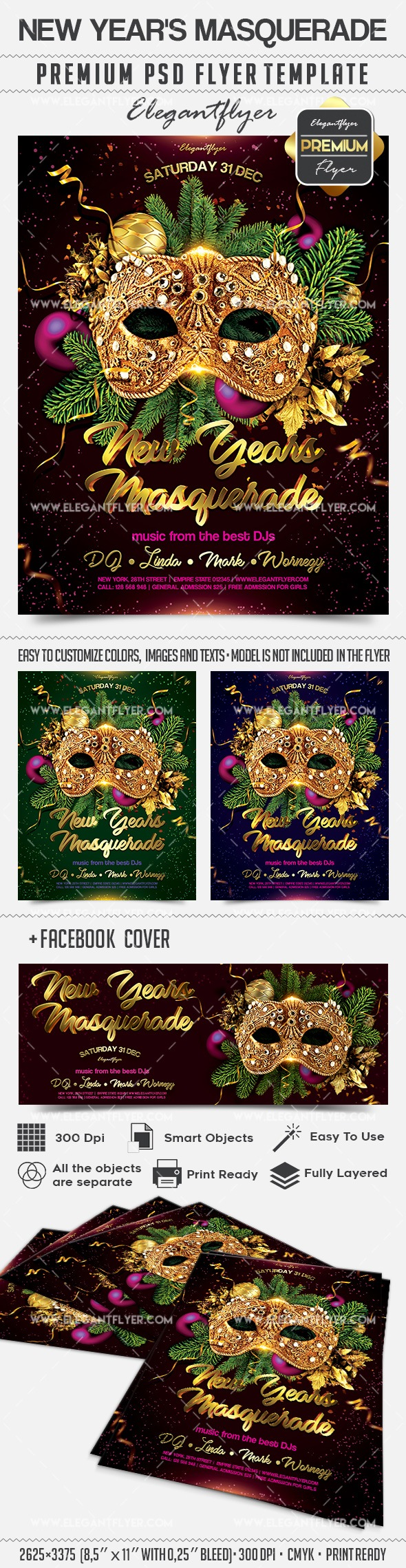 New Year's Masquerade – Flyer PSD Template
