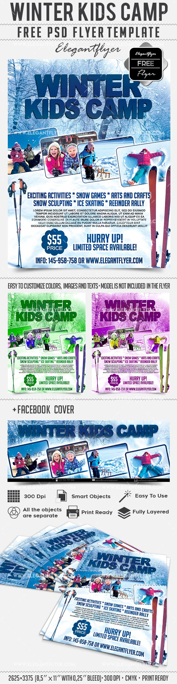 Winter Kids Camp – Flyer PSD Template + Facebook Cover