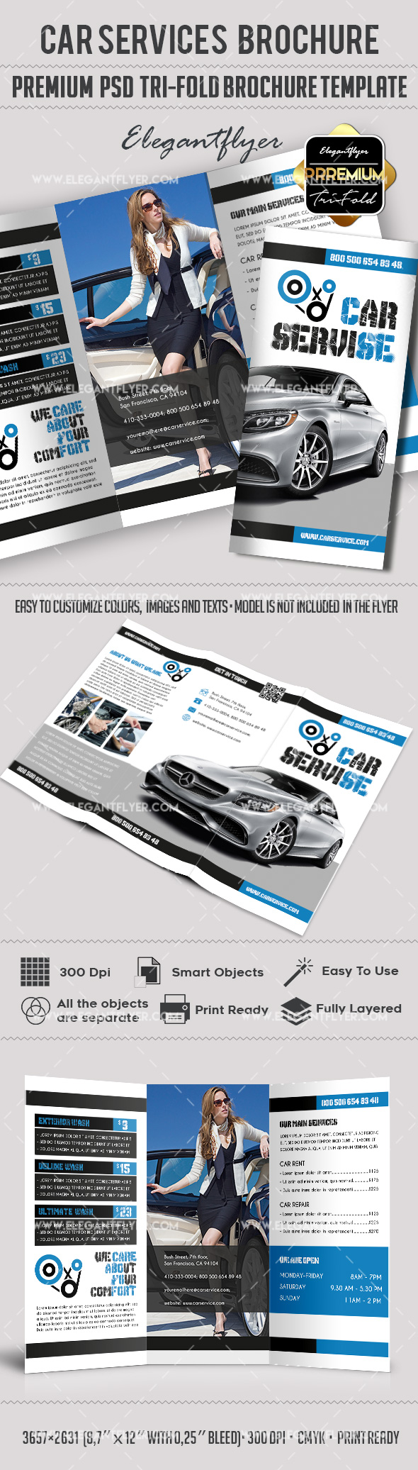 Car Services – Premium Tri-Fold PSD Brochure Template