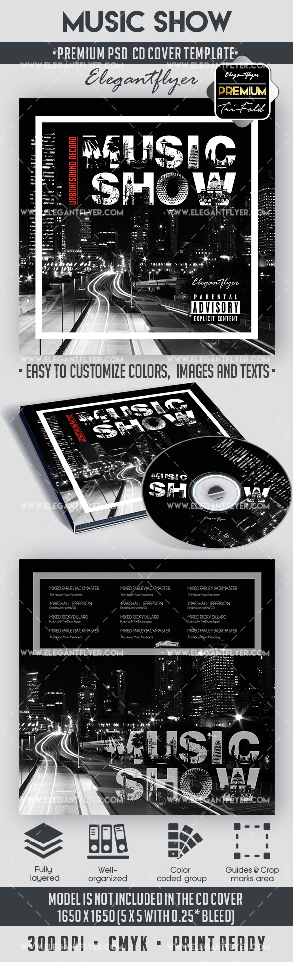 City Show – Premium CD Cover PSD Template