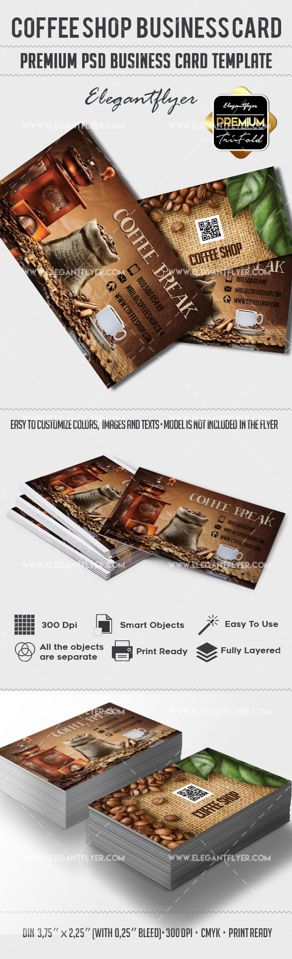 Coffee shop premium business card psd template by elegantflyer coffee shop premium business card psd template wajeb Images