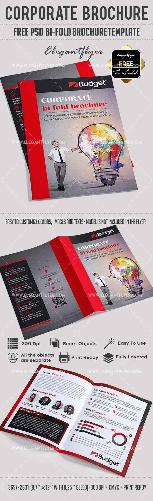 Corporate free psd bi fold psd brochure template by for Free flyer brochure templates