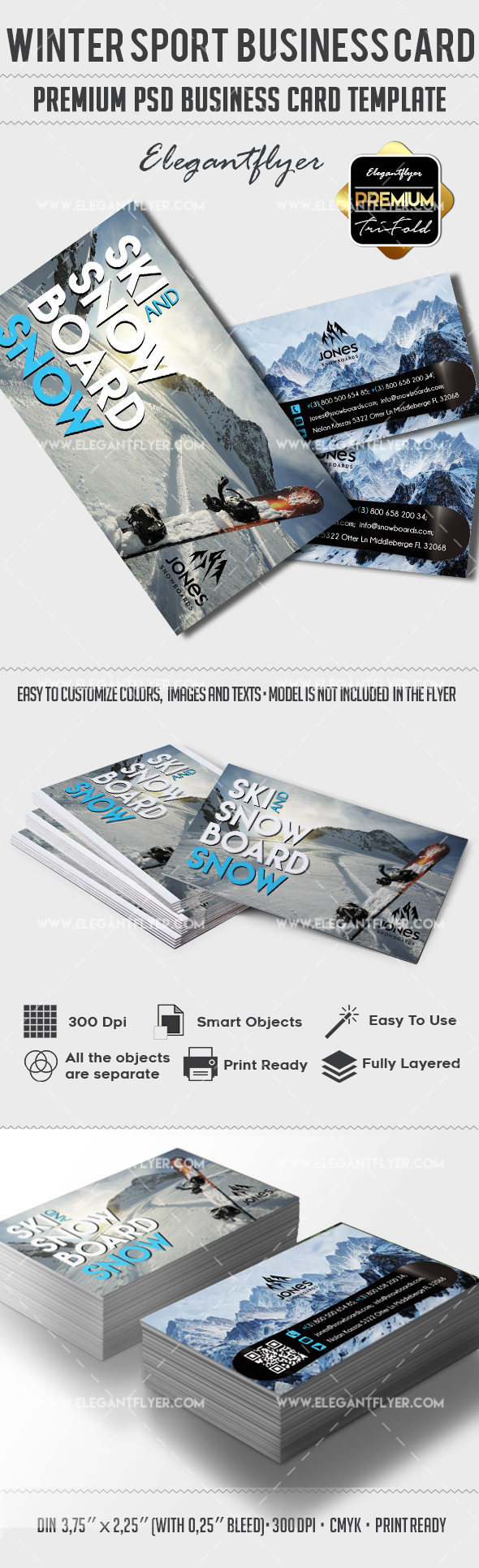 Winter Sport – Premium Business card PSD Template