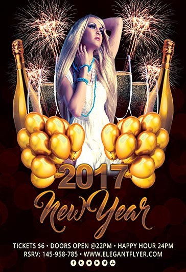 2017 new year flyer psd template